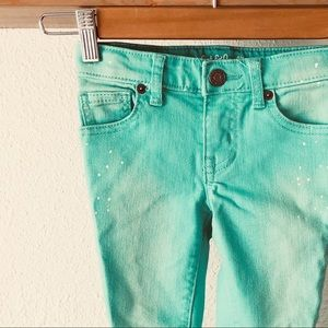Cat & Jack kids 80's bright turquoise skinny jeans
